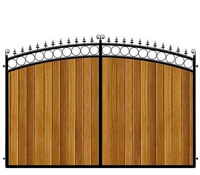 Top Quality Driveway Gates - Wrought iron with wooden infill - heavy duty