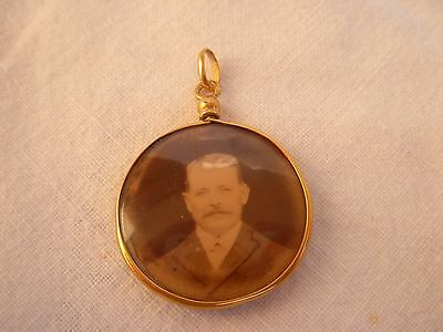 Antique French Solid Gold 18K Photo Holder Locket Pendant