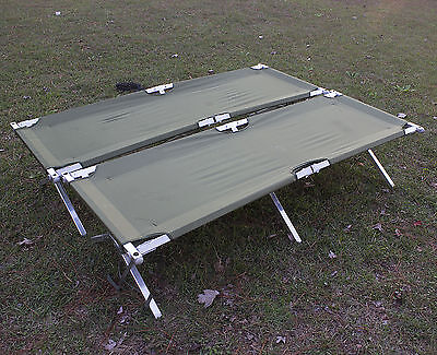 Two US Army Issue American Military Aluminum Cots, Clean, Tight Nylon