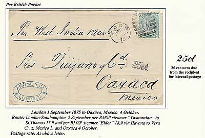 1875 OUTER LETTER GREAT BRITAIN TO MEXICO WITH 1s. PER WEST INDIA MAIL. 25ct DUE
