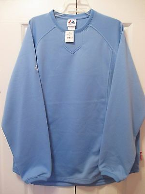 Majestic Light Blue Long Sleeve ThermaBase Baseball Pull-Over~Med~NWT