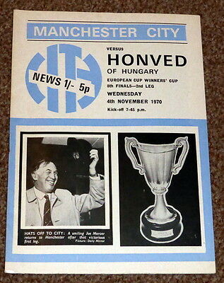 EUROPEAN CUP WINNERS CUP 1970 MAN CITY v HONVED PROGRAMME - VGC