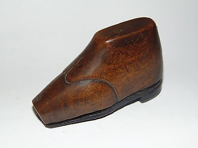 EARLY ANTIQUE 1800's TREEN WOODEN SHOE SNUFF BOX with LEATHER SOLE COVER
