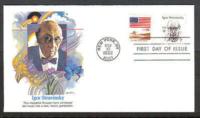 Us Fdc 1982 Igor Stravinsky 2C Us Flag 18C Fleetwood First Day Of Issue Cover