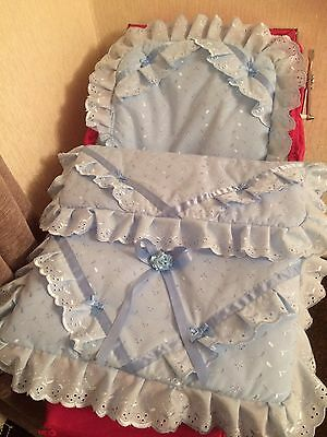dolls Baby Blue Broderie Quilt And Pillow Suitable For Silver Cross