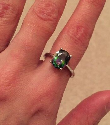 """Bohemian Sterling Silver Ring With """"oil spill"""" Gemstone (Size N)"""