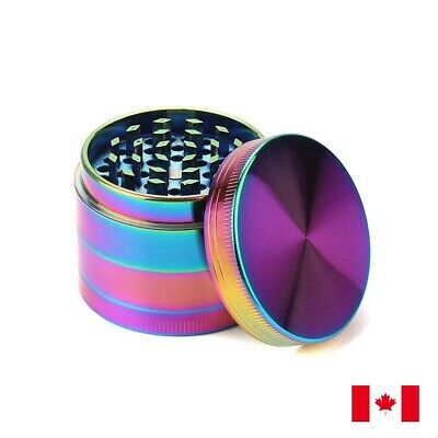 Rainbow Zinc Alloy 4 Layers 50mm Tobacco Herb Grinder w/ Scraper