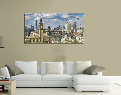 Quadri Moderni Tela 100X50 Londra London Eye Big Ben Skyline Westminster Arredo