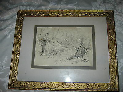 """19th century English school pen and ink drawing """"Romancing in The Park"""" unsigned"""