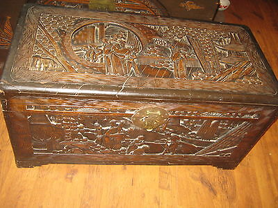 Large Heavily Carved Wooden Camphor Linen Chest Coffer Chinese Figures