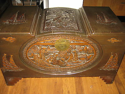 Large Heavily Carved Wooden Camphor Linen Chest Coffer Boats &  Figures