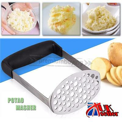 UK Wide Grip Metal Potato Masher Heavy Duty Stainless Steel Ricer Cutter Tool