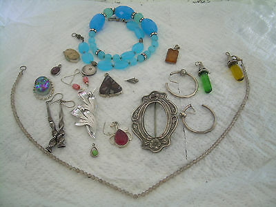 Sterling Silver Jewelry Lot Mostly Resale Some Scrap and Vintage
