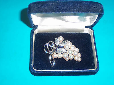 Rare Mikimoto White Gold & Pearl Pin- Spectacular Vintage From Japan