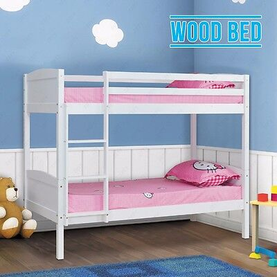 2 Single White 3FT Beds Solid Pine Wood Double Bunk Bed Frame Bedroom Furniture