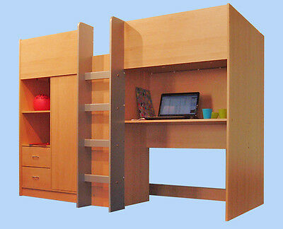 Cabin Bed Childrens Single High Sleeper Bed New R18B