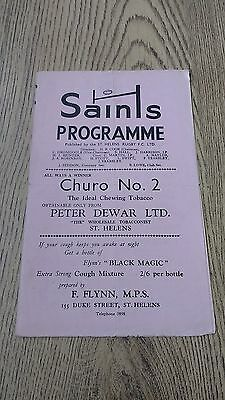 St Helens v Wigan 1960 Rugby League Programme