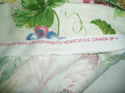 Richloom Floral Fruit Print Cotton Fabric - 3+ Yards (10+ ft) 1990s Part of Bolt