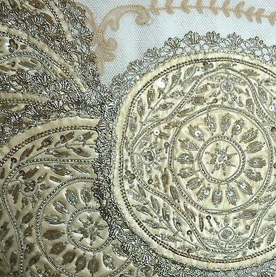 Antique Silver Metal Thread and Lace Embroidered Rounds