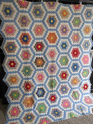 Antique Vintage GRANDMOTHER'S FLOWER GARDEN Quilt, UNUSED, EXPERT HAND QUILTING