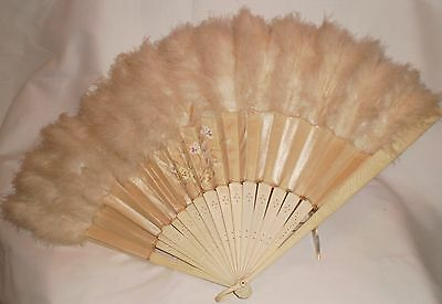 """Edwardian Cow bone Hand held Fan Silk and Feather Hand Painted 24 """" when open"""