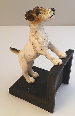 1 Vtg Jack Russell Terrier Dog Bookend Cast Iron Metal Cabin Lodge Man Cave Pet