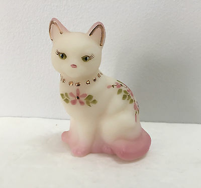 Fenton Glass White Satin Cat Hand Painted Pink Gold Floral Signed