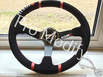 NISMO 350 mm Suede Leather Deep Dish Steering Wheel OMP MOMO Rally Drifting B