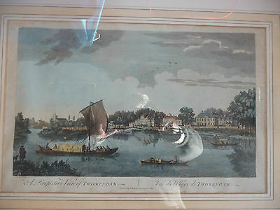18th century large antique print of Twickenham from the river
