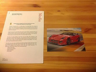 * ULTRA RARE - FERRARI 599XX V12 Genuine Press Release + Press Photo, FXX, Enzo