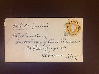 India 1893 Bombay-London Cover Pre Printed 2a6p Some Damage But Scarce