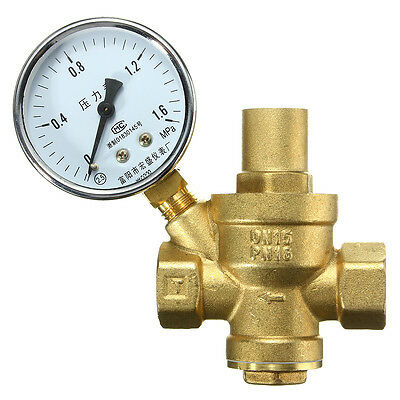 DN15 Bspp Brass Water Pressure Reducing Valve With Gauge Flow Adjustable 1/2''