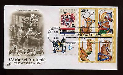 US SUPER FRANKED First Day COMBO cover 1988 Carousel Animals