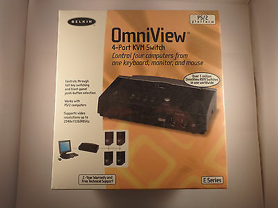 Belkin F1DB104P OmniView E Series 4-Port KVM Switch and 2 cables New and sealed.