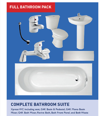 1700Mm Full 8 Piece Bathroom Set, Toilet, Cistern, Basin & Bath Taps, Sc Seat