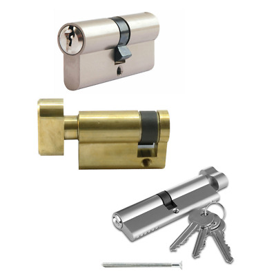 Euro Cylinder Double Nickel Plated 35/10/35 Supplied 3 Keys