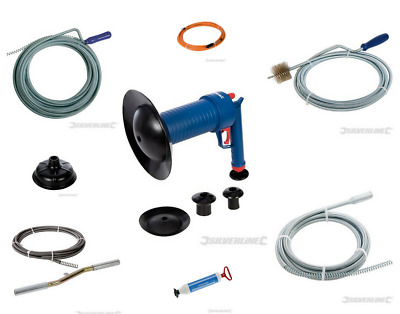 Drain Auger Brush Cleaner Crank Blast Waste Pipe Unblocker Drill Powered Cup