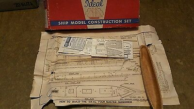 Vintage Ideal Ship Model Four Masted Schooner With Molded Hull