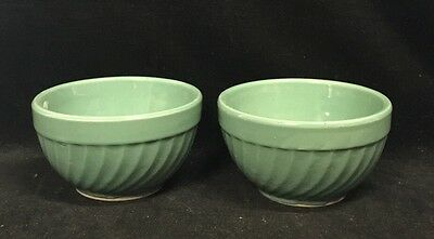 Vintage Lot 2 Watt Oven Ware #5 Swirl Pattern Bowl Teal/green Cereal/mixing