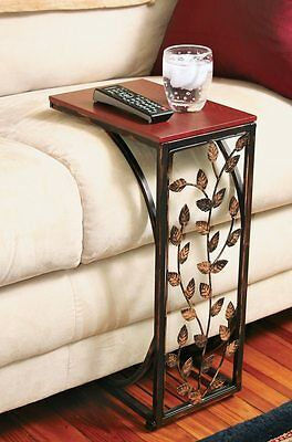 Burnished Metal Leaf Design Sofa Side Accent Table