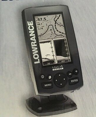NEW LOWRANCE MARK-4 CHIRP FISH FINDER / CHARTPLOTTER with Transducer & Basemap