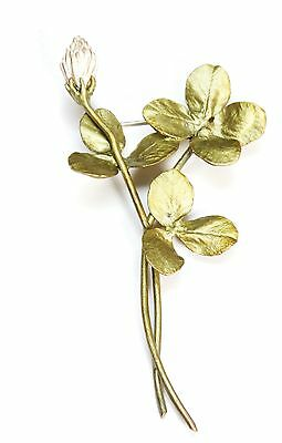 Clover Spray Brooch Pin by Michael Michaud for Silver Seasons #5777BZ