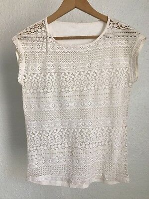 Urban Outfitters Lace Top T-Shirt Off White Sheer Casual Party Size M