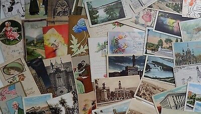 Mixed Lot of 60 Vintage Postcards - Romantic, Holiday, Comic, etc.