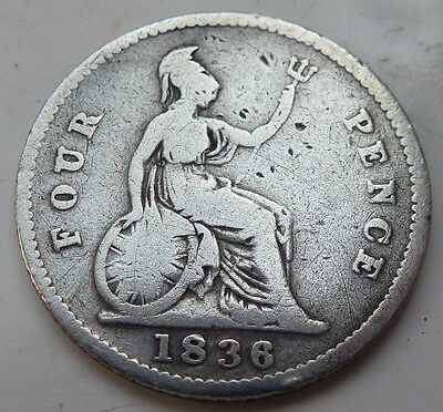 1836 WILLIAM IV SILVER GROAT/ FOURPENCE 4d COIN HUNT