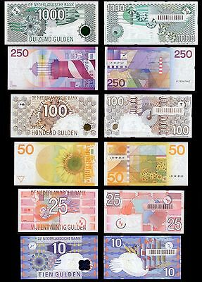 Netherlands *ALL UNC* 6 Latest 1000 250 100 50 25 10 Gulden Banknote