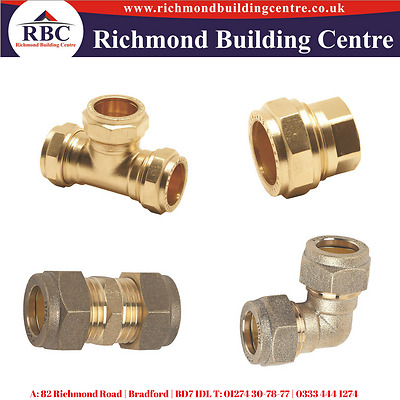 15Mm, 22Mm Compression Brass	Equal Tee, Straight Coupling, Elbows, Stop Ends