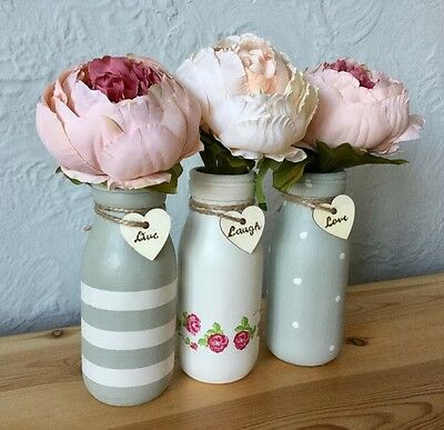Set Of 3 Mini Painted Milk Bottles, Shabby Chic, Floral Pink, Sage, Gift Kitchen