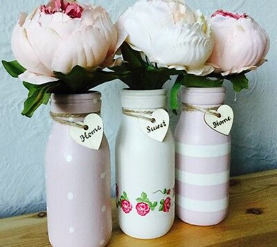 Set Of 3 Mini Painted Milk Bottles, Shabby Chic Floral, Pink, Sage, Gift Kitchen