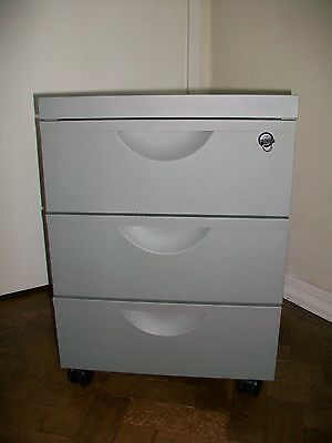 Office Grey Metal 3X Draw Cabinet